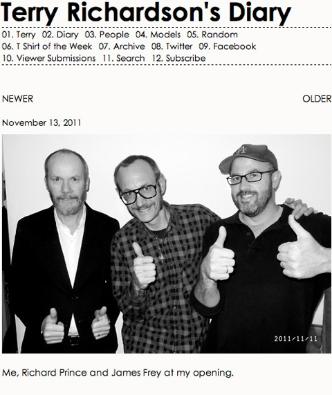 Richard Prince, Terry Richardson & James Frey BY TERRY RICHARDSON