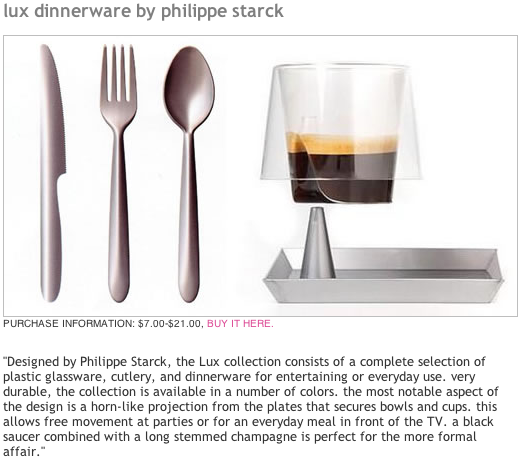 Philippe Starck designs plastic cutlery, you know, like the stuff you throw away
